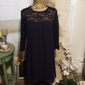 Lily Rose Navy Blue Laced Top Dress Size M in EUC